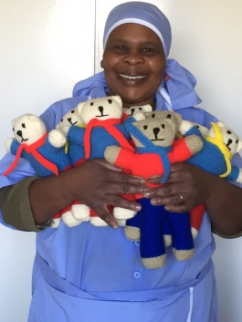 Martha with the first Care Bears she made.