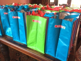 Spar kitbags made up and waiting to be handed out to new knitters.